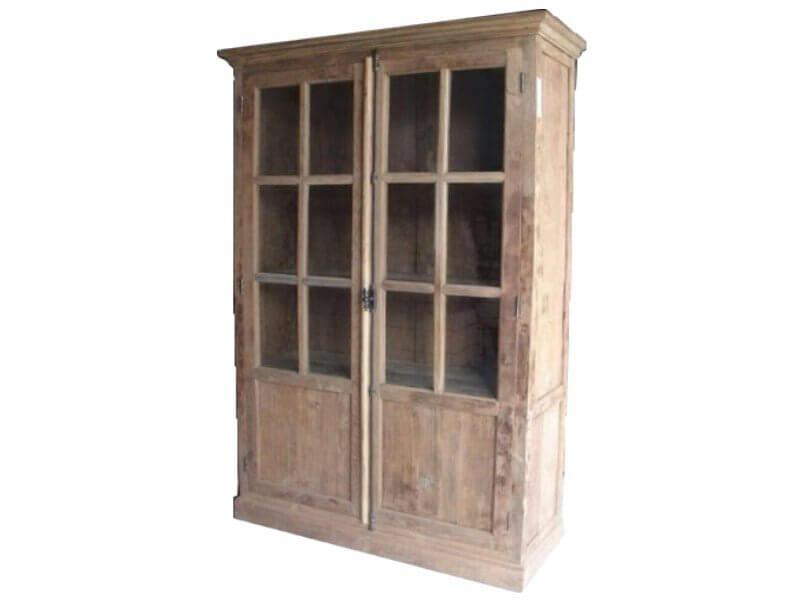 Espagnolet vitrine kast 2 deurs blank teak landelijke kast met 2
