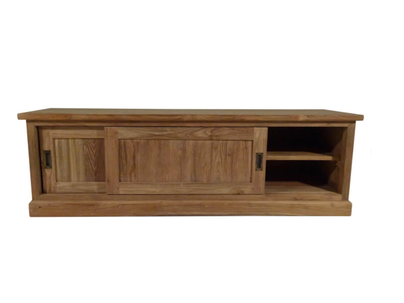 Tv meubel blank teak met 2 schuifdeuren landelijke stijl for Meubels teak