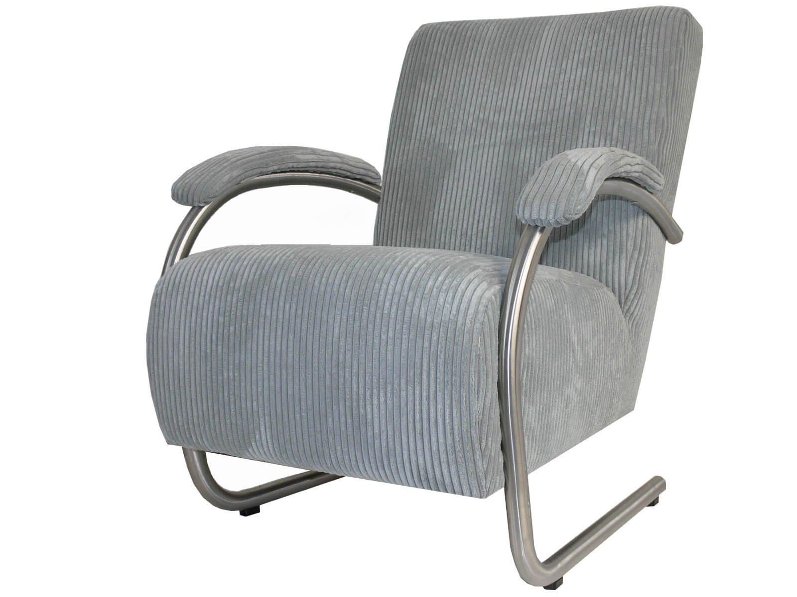 Moderne fauteuil vegas met ronder armleuningen van rvs afgewerkt